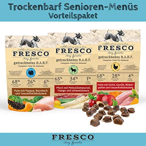 Fresco Trockenfutter getreidefrei Hundefutter für ältere Hunde Viel Fleisch Barf artgerecht & unkompliziert Trockenbarf Senioren-Menüs Vorteilspaket