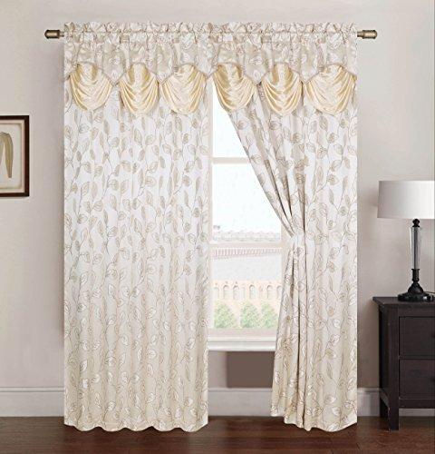 Rt designers - tenda in voile con passanti nascosti, collezione brenda, in jacquard, con mantovana di 45 cm, 137x 213cm, poliestere, beige, 84 x 54 x 0.25 cm