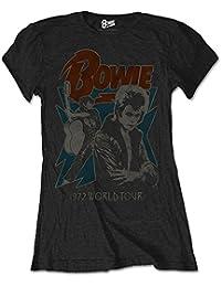 Ladies David Bowie 72 Tour Ziggy Stardust Rock oficial Camiseta mujeres señoras
