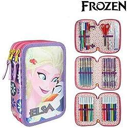 Cerdá Disney Frozen 2700000226, Astuccio 3 Scomparti, Bambina, 19 Centimetri, Bianco (lila)
