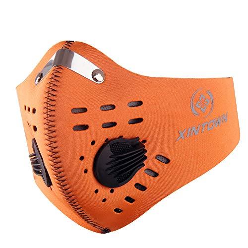 LUCKME Aktivierte Carbon Dustproof Mask, Wiederverwendbare Breathing Valve Mask für Radrunning Training House Reinigung Gartenarbeit im Freien Aktivitäten,Orange