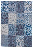 CarpetFine: Kelim Patchwork Lina Teppich 140x200 cm Blau - Patchwork