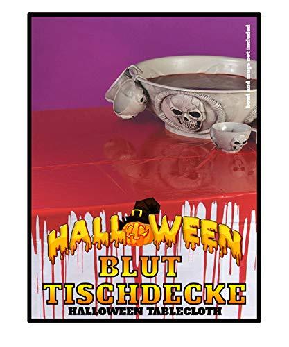 Blutige Tischdecke Halloween Party Tablewear Gruseldeko Schocker 2,7 x 1,3 Meter PVC wiederverwendbar Horror Splatter Spaß mit Blutspritzern (Halloween-party Zombie Essen)