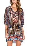 Urbancoco Damen Vintage Bohemian Strandtunika Sommerkleid tunikakleid Bluse (S, #6)