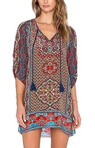 Urbancoco Damen Vintage Bohemian Strandtunika Sommerkleid Tunikakleid Bluse (XL, 6)
