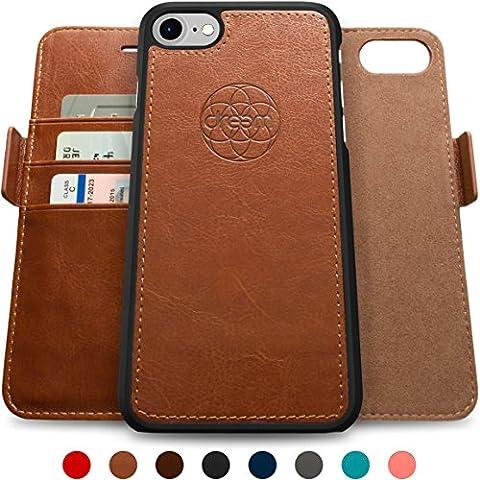 Coque + étui portefeuille magnétique Dreem Fibonacci pour iPhone 7, protection RFID, 2 positions possibles, en simili-cuir haut de gamme, dans un emballage cadeau -