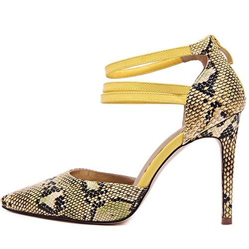 Oasap Women's Pointed Toe Snakeskin Grain Ankle Strap Stiletto Pumps yellow