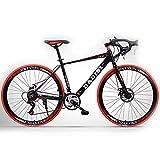 H-LML Bicicleta de Carretera de 27 Pulgadas Hombres y Mujeres Velocidad de aleación de Aluminio Frenos de Disco Bicicletas Curvas Carreras,Red,30