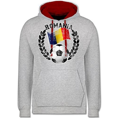 Fußball - Romania Flagge & Fußball Vintage - Kontrast Hoodie Grau Meliert/Rot