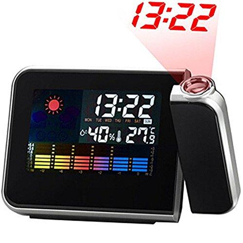 SunJas Stazione meteo con display a colori, proiettore a LED digitale e orologio/sveglia/termometro/igrometro