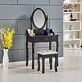 Tason Vanity Dressing Table Set with Adjustable Mirror and Stool, Vintage Style Jewelry Cosmetic Storage Dresser Makeup Desk (Black)