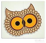 Wallario Herdabdeckplatte / Spritzschutz aus Glas, 2-teilig, 60x52cm, für Ceran- und Induktionsherde, Lustige Comic Eule mit großen Augen