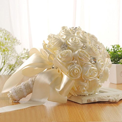 Hunpta crystal rose perla damigella d' onore wedding bouquet da sposa fiori di seta artificiale