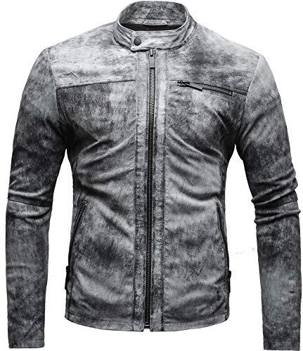CRONE Epic Herren Lederjacke Cleane Leichte Basic Jacke aus weichem Schafs-Leder (L, Vintage Grau (Wildleder)) - 4