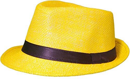 ra Trilby Gangster Hut Sonnenhut mit Stoffband Farbe:-Gelb (Strohhut) Gr:-58 ()