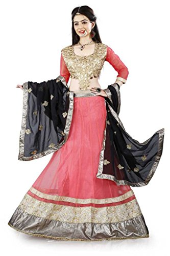 Lehenga Choli Pink Color Fully Stitched Free Size Women's Net Lehenga by...