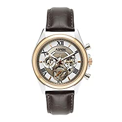 Aspen Mens White Color Dial With Ionic Rose and Steel Plating Analogue Leather Wrist Watch For Casual Use