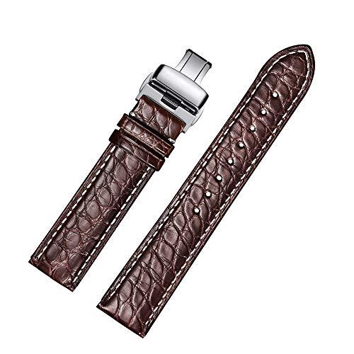 Alligator Leder Runde Muster Ersatz Uhrenarmbänder mit Bereitstellung Stahl Schnalle (20mm,Braun) (Leder-uhr-bereitstellung Gurt)