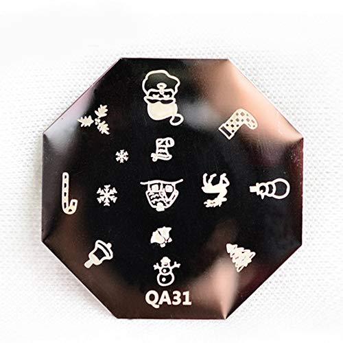 Série de Noël Motif Nail Art Plaque en acier Stamp Stamping BRICOLAGE Vernis à Ongles Imprimer Manucure Nail Stencil Template - Noir