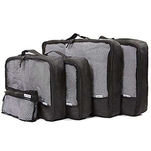 ✅ Space-saving Go Anywhere Packing Cubes - Lightweight Organisers for Suitcase Backpack Rucksack and other Luggage - Quality Travel Organiser Accessories by OW-Travel (Black, 1 Mesh Pouch, 2 Medium 2