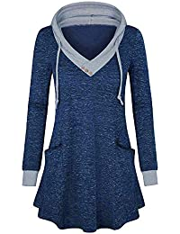 9d0aeb5346 Strung Damen Pullover Langarm Oberteile V-Ausschnitt Hemd Tasche Sweatshirt  Patchwork Casual Kapuze Hoodie Frauen