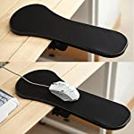 TRIXES Ergonomic Armrest Mouse Pad / Mat with Clamp for Chair Arm or Desktop