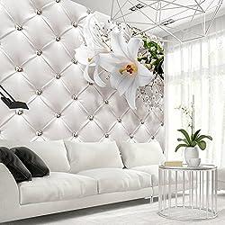 Fotomural 400x280 cm - Flores Cuero blanco moderno