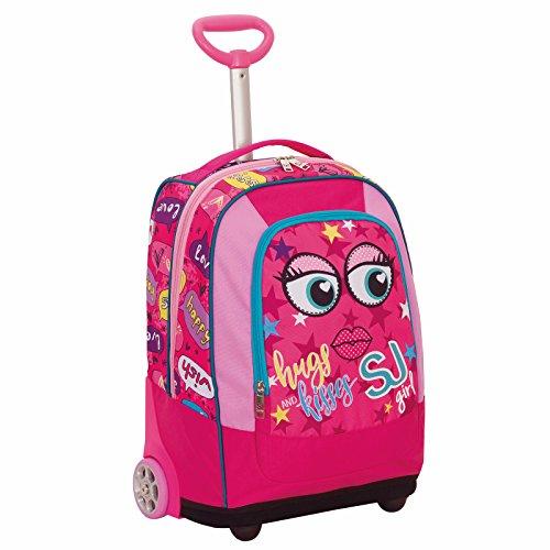 Big trolley sj face girl - rosa - 33 lt - 2in1 zaino  con spallacci a scomparsa - scuola & viaggio