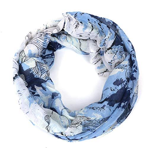 Loop-Schal für Damen, Loop Cary Basic Schal Tuch Damen-schal Schlauchschal Rundschal Halstücher uni unifarben Loopschal Rundschal einfarbig Geschenkidee für Frauen perfektes Frühling Sommer/Blau -