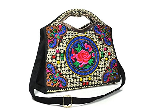 Bella borsa a tracolla–Memorecool ricamo Handbags National Style borsa ragazze in poliestere con zip Tasche interne Healthy peonies3 butterfly