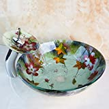 Maifeini  Diseño De Flor Lavabo Baño Moderno Buque 4039-1 Lavabo De Vidrio Templado Y Latón Waterffaucet,Grifo Mezclador Multi