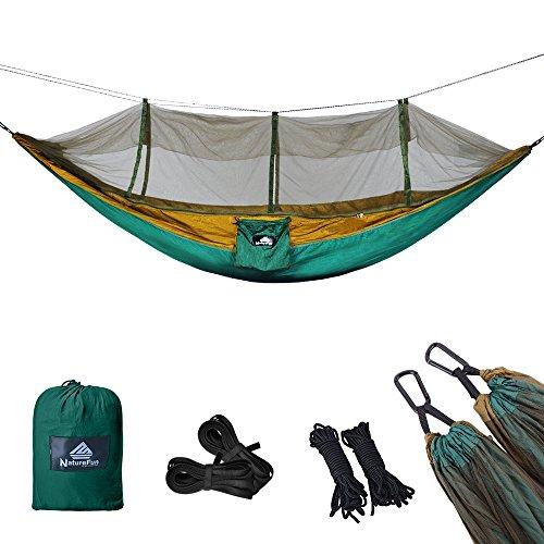 NATUREFUN Mosquitero Hamaca Ligera Viaje y Camping | 300kg de Capacidad de Carga, (275 x 140 cm) Transpirable Nylon de Paracaídas| 2 x Mosquetones Premium, 4 x Correas de Nylon Incluidas