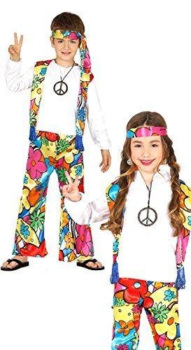 1960 Hippie Kostüm - Fancy Me Jungen oder Mädchen Leuchtend 1960s Jahre 1970s Hippie Hippy Woodstock Peace Love 60s Jahre 70s Jahre Kostüm Kleid Outfit 3-12 Jahre - 5-6 Years