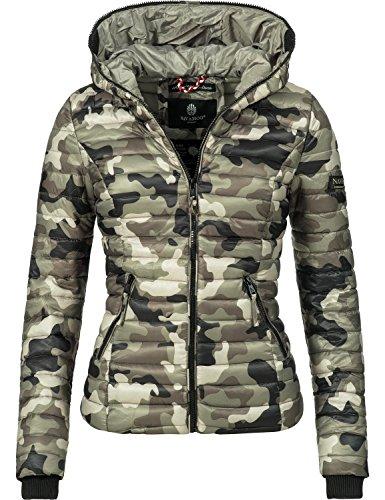 Navahoo Damen Jacke Übergangsjacke Steppjacke Kimuk (vegan hergestellt) Army Grey Gr. XS
