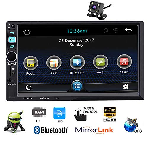 "PolarLander 7"" FHD Capacitive Touch Screen 2 Din Android 5.1.1 12V Car Radio Audio Player Built-in Wifi GPS Mirror Link with Rear View Camera"