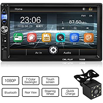 CL-2 EKADA 7 Zoll Autoradio MP5 Player FM Radio 1080P 2 Din HD Bluetooth Touch Screen Mirror Link Fernbedienung USB//TF Schnittstelle mit 720P R/ückfahrkamera