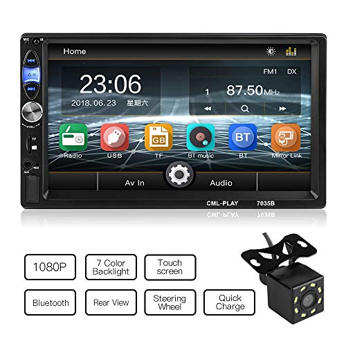 MiCarBa Universal 7 pollici HD 1024 * 600 doppio lettore video auto Din, Touch Screen Car Radio con telecomando supporto FM Android 4.0-8.0 Mirror Link(CL7035B) ...