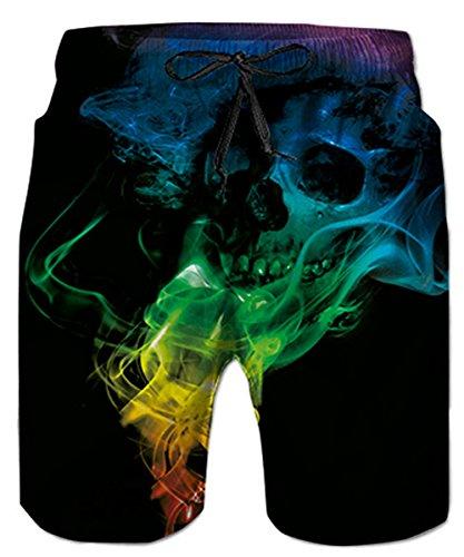 Idgreatim Herren mittlerer Länge 3D Print Grafik Schädel Sommer Strand Shorts Surfing Trunks Loose Fit XXL