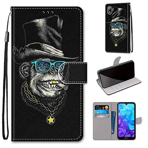 Miagon Flip PU Leder Schutzhülle für Huawei Y5 2019,Bunt Muster Hülle Brieftasche Case Cover Ständer mit Kartenfächer Trageschlaufe,Affe