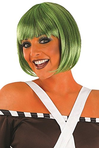 Damen Oompa Loompa grün Bob with Fringe Buch Tag Kostüm Verkleidung Outfit Perücke (Loompa Oompa Outfits)