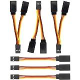 GTIWUNG 6Pcs Cable de Extension Servo, 75mm Jr Servo Extensión, Servo Cable de Extensión, JR Receptor Enchufes Conectores, Ca
