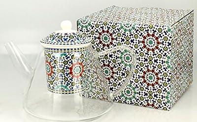 Théière en verre avec filtre Porcelaine Motif, le Maroc '1,2L de Duo
