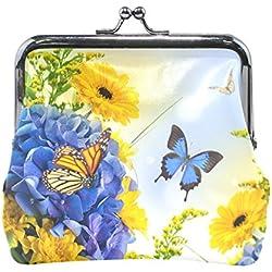 COOSUN Piel flores Mariposas digital hydragea margaritas azules de la moneda de cierre del embrague monedero complemento moneda de la carpeta Pequeña multicolor