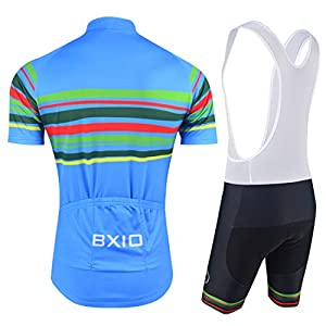 BXIO Cycling Jerseys - Breathable Short Sleeve Bike Jersey with 3D Gel Pad Bib Shorts for Pro Bicycle Team Clothing