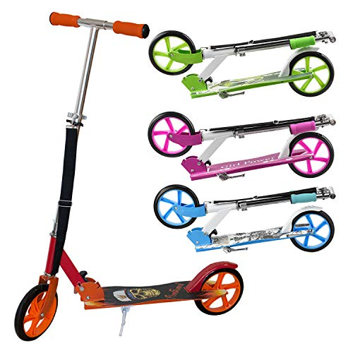 ArtSport Kinder Scooter schwarz/rot | ab 6 Jahre | 205 mm Räder | klappbar höhenverstellbar | 100 kg belastbar | Cityroller Tretroller Kinderroller