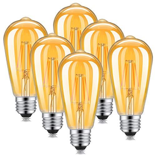 Kohree LED Edison Vintage Glühlampe, Retro Filament Glühbirne, Dekoratives Leuchtmittel, E27 ST64 (4W / 220V) 2600-2700K Amber Warmweiß Retro-Licht,6 Stück für Haus Bars Cafés - Amber Glühlampe Kronleuchter