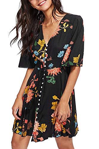 Turnglam Sommerkleid Damen Kurz Minikleid Schwarz Kurzarm Kleid V-Ausschnitt Strand Blumen Kleider Abendkleid Playsuit Strandkleid