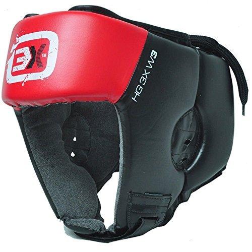 Caschetto integrale di protezione in pelle sintetica per MMA, Muay Thai, Kick Boxing, arti marziali, UFC, Red, L