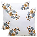storeindya - Set von 2 Kissenbezüge Kissenbezug - Baumwolle & Block mit Einem Blumenmuster gedruckt Platz Kissen Fall für Sofa Couch - Toss Kissen Wohnzimmer Home Decor Bettwäsche Zubehör