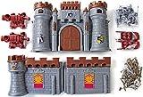 Kinder-Spielzeug Ritter-Burg Kinder-Set Kunststoff mit Rittern und Kanonen 37 tlg. Silber